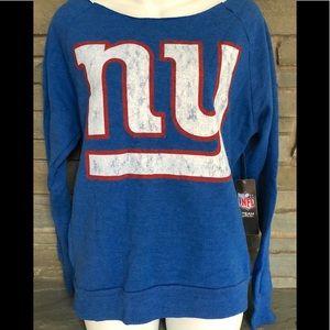 "NWT NY Giants ""flashdance collar"" soft fleece top"